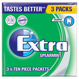 Wrigley's Extra Spearmint Sugarfree Chewing Gum 3 Packs 42g