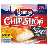 Young's Chip Shop 4 Large Haddock Fillets 440g