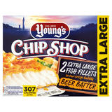 Young's Chip Shop 2 Extra Large Fish Fillets in our Crisp Bubbly Beer Batter 320g