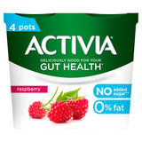 Activia Raspberry No Added Sugar 0% Fat Yogurt 4 x 120g (480g)