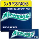 Airwaves Menthol & Eucalyptus Chewing Gum Sugar Free Multipack 3 x 9 Pieces
