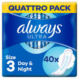 Always Ultra Night (Size 3) Sanitary Towels Wings 40 Pads