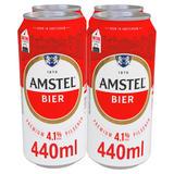 Amstel Bier Lager Beer 4 x 440ml Cans