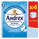 Andrex® Classic Clean Washlets™ Moist Toilet Tissue Quad (3 x 4 packs of 40 sheets)