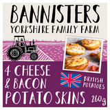 Bannisters Yorkshire Family Farm 4 Cheese & Bacon Potato Skins 260g