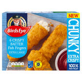 Birds Eye 6 Crispy Batter Fish Fingers Extra Large 360g