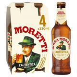 Birra Moretti Lager Beer 4 x 330ml Bottles
