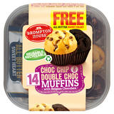 Brompton House Choc Chip & Double Choc Muffins with Belgian Chocolate + 1 Free Sweet Heart 14 x 25g