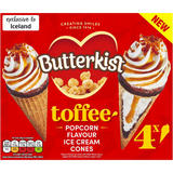 Butterkist 4 Toffee and Popcorn Flavour Ice Cream Cones 304g