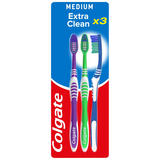 Colgate Extra Clean Medium Toothbrush x3
