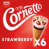 Cornetto Strawberry Ice Cream Cones 6 x 90 ml