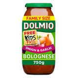 Dolmio Bolognese Onion and Garlic Pasta Sauce 750g