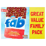 Fab Milky, Choccy, Sprinkley Strawberry Fruity Lollies 12 x 58ml