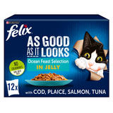 FELIX AS GOOD AS IT LOOKS OCEAN FEASTS Fish Selection in Jelly Wet Cat Food 12 x 100g