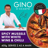 Gino Spicy Mussels With White Wine, Tomatoes & Chilli 450g