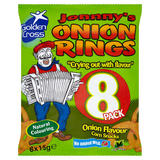 Golden Cross Johnny's Onion Rings Onion Flavour Maize Snacks 8 x 15g
