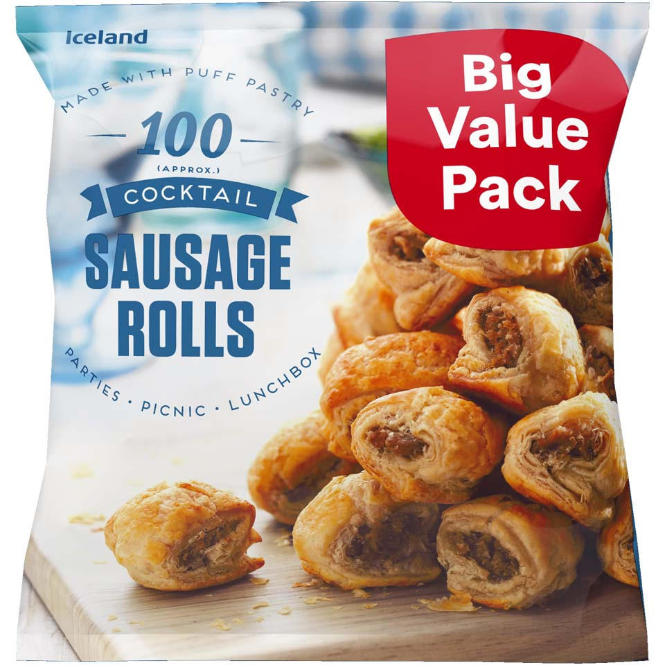 Iceland 100 Approx Cocktail Sausage Rolls 14kg Party