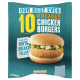 Iceland 10 100% Breast Fillet Breaded Chicken Burgers 550g