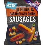 Iceland 10 (approx.) 100% British Pork & Caramelised Onion Sausages 500g