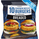 Iceland 10 (approx.) Breaded Chicken Breast Burgers 550g