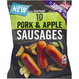 Iceland 10 (approx.) Pork & Apple Sausages 500g