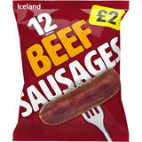 Iceland 12 (approx.) Beef Sausages 600g