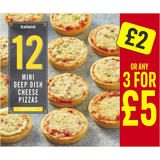 Iceland 12 Mini Deep Dish Cheese Pizzas 312g