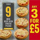 Iceland 12 Mini Deep Dish Cheese Pizzas 312g