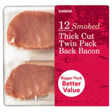 Iceland 12 (Rashers Average) Smoked Thick Cut Twin Pack Back Bacon 500g