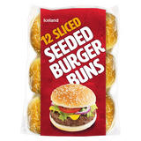Iceland 12 Sliced Seeded Burger Buns