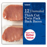 Iceland 12(Rashers Average) Unsmoked Thick Cut Twin Pack Back Bacon 500g