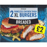 Iceland 2 Breaded Boneless Chicken Thigh XL Burgers 300g