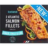 Iceland 2 Ginger, Chilli and Lime Atlantic Salmon Fillets 250g