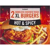 Iceland 2 Hot and Spicy Boneless Chicken Thigh XL Burgers 300g