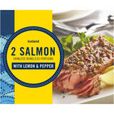Iceland 2 Salmon Skinless Boneless Portions with Lemon & Pepper 250g
