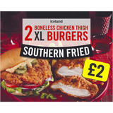 Iceland 2 Southern Fried Boneless Chicken Thigh XL Burgers 300g