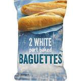 Iceland 2 White part baked Baguettes 300g