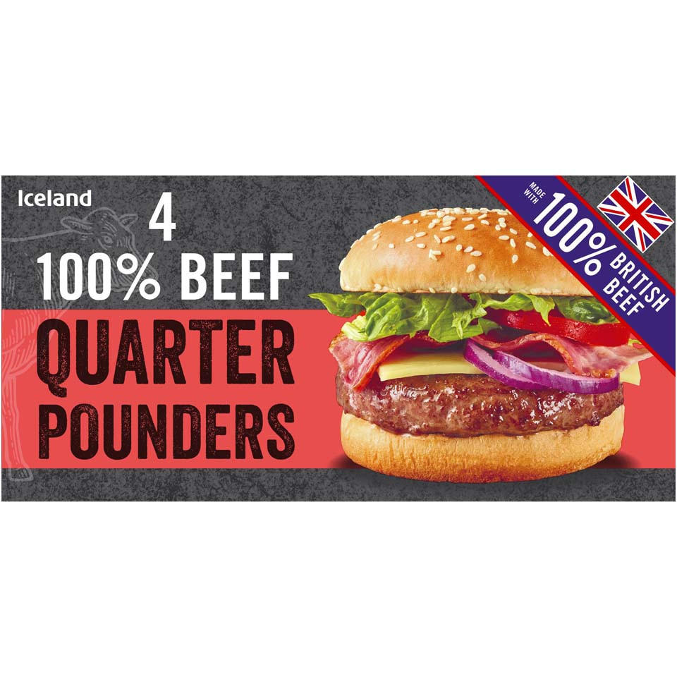 Iceland 4 100 Beef Quarter Pounders 454g Burgers Iceland Foods