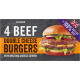 Iceland 4 100% British Beef Double Cheese Burgers 454g