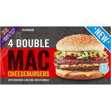 Iceland 4 100% British Beef Double Mac Cheeseburgers 454g