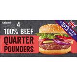 Iceland 4 100% British Beef Quarter Pounders 454g
