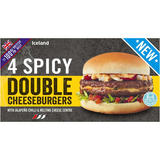 Iceland 4 100% British Beef Spicy Double Cheeseburgers 454g