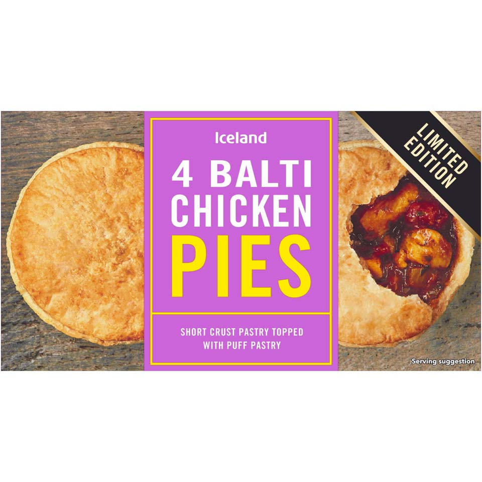 Iceland 4 Balti Chicken Pies 568g Limited Edition