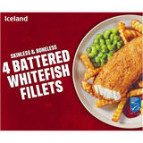 Iceland 4 Battered Whitefish Fillets 400g