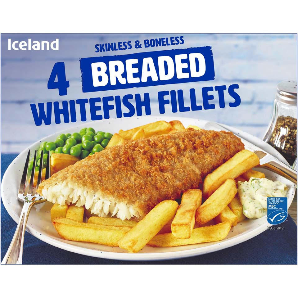 Iceland 4 Breaded Whitefish Fillets 400g Battered Breaded Fish Iceland Foods