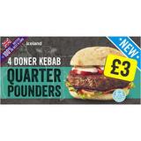 Iceland 4 Doner Kebab Quarter Pounders 454g
