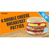 Iceland 4 Double Cheese Breakfast Patties 506g