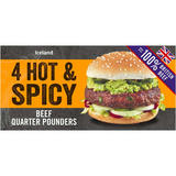 Iceland 4 Hot & Spicy Beef Quarter Pounders 454g