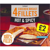 Iceland 4 Hot & Spicy Chicken Breast Fillets 380g