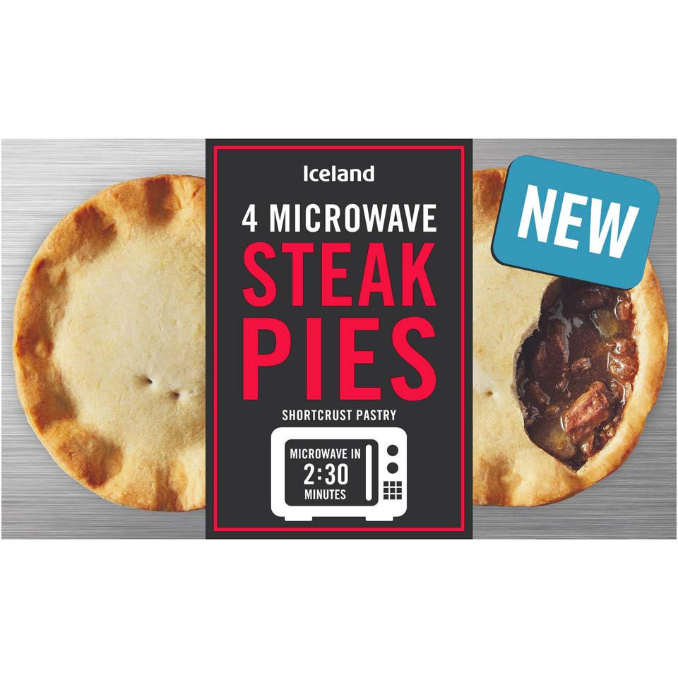 Iceland 4 Microwave Steak Pies 570g | Pies & Puddings ...